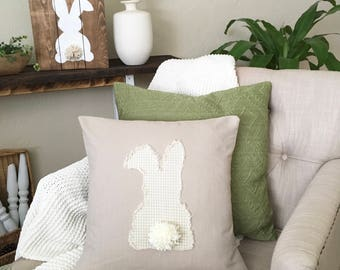 Bunny Butt Pillow Cover - frayed edge