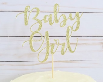 Baby Girl Cake Topper - Baby Shower Cake Topper - Gold Baby Shower Cake Topper - Gold Cake Topper - Girl Cake Topper