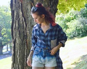 Bleached Denim Shorts - High-Rise, Upcycled Vintage Clothing, Handmade, Minimal, Boho, Dip-Dyed