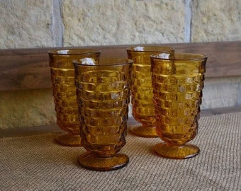 Set of Four (4) Indiana Glass, Whitehall Colony Footed Water/Ice Tea Goblets in Amber