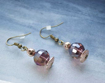 Rose Gold Purple Glittery Drop Earrings