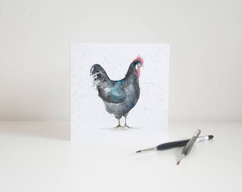Watercolour Chicken Greetings Card