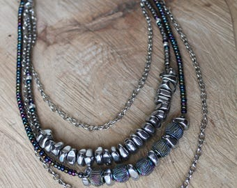Multi-Layered Hematite Beaded Necklace