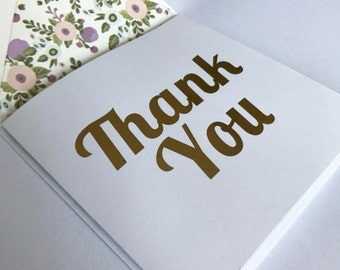 Gold Foil Thank You Card with Lined Envelope