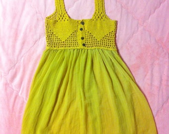Vintage Mustard Yellow Crochet Tunic Dress / Vintage Yellow Crochet Tunic Mini Dress
