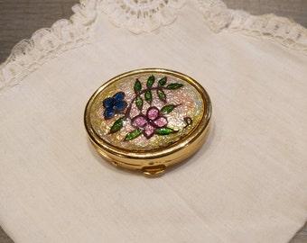 Golden decor enameled flower pill box / Enamel Pill box / Trinket box