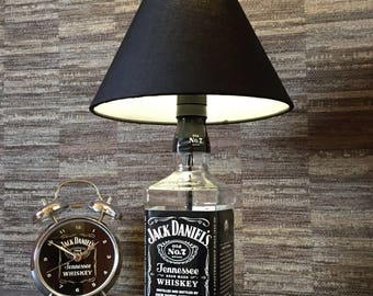 Jack Daniels Whisky Bottle Lamp With Black Coolie Shade Upcycled 70cl