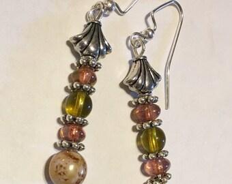 Green Brown Silver Dangle Earrings