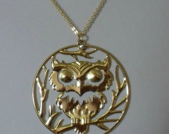 Gold Owl Necklace,Owl Necklace,chunky Owl Necklace,Owl Pendant, Gold Owl Pendant,Owl Jewelry,Gold Owl Jewelry