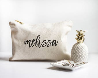Personalized Makeup Bag - Bridesmaid Gift - Bridesmaid Proposal - Gift for Sister - Gift for Best Friend - Natural Canvas Bag - Custom Gift