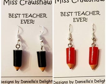Teacher Gift 3D Pencil Earrings Gift Set Black or Red Designs. Personalised Best Teacher Inscription. Quality Silver Plated Drop Earrings