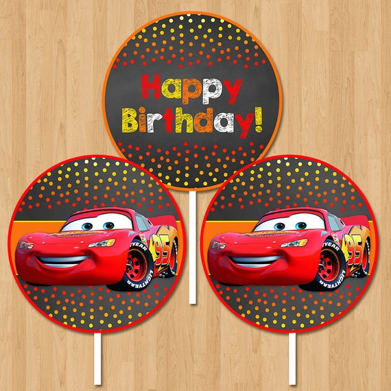 Disney Cars Centerpiece - Chalkboard Orange Red - Lightning Mcqueen Cars Birthday Party Centerpiece - Disney Cars Birthday Round Centerpiece