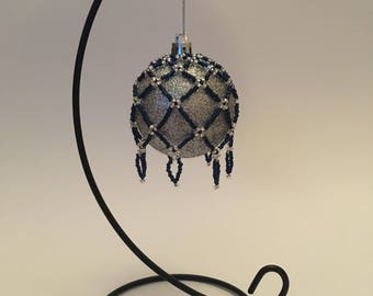 Christmas Tree Decoration / Hand Beaded Sapphire Blue and Silver Christmas Ornament Cover