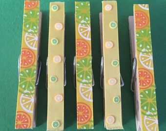 Fun and Bright Citrus Clothespins