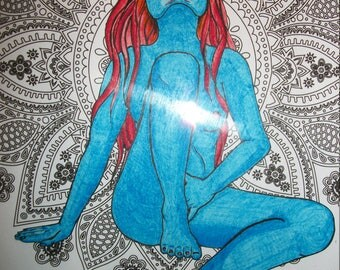Blue Goddess drawing collage