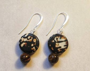 Fire Agate Tigers Eye Crystal Silver Plated Hook Earrings