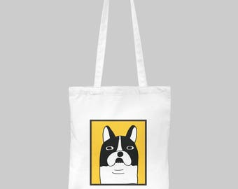 Tote Bag Canvas dog, dog tote bag, women tote bag, gift for her idea, secret santa gift, dog lover gift, birthday gift idea, christmas gift