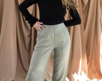 100% silk gauchos sage green trousers