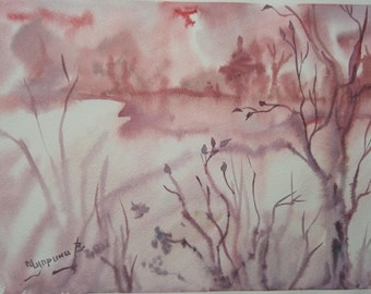 Original Art Painting,Watercolor Landscape,Misty landscape,pink and gray,Forest painting,Fog,Woodland Painting,morning fog,Home Decor,gift