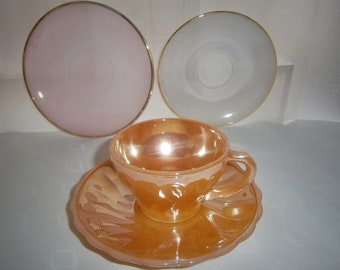 Vintage Anchor Hocking Fire King Peach Lustre Cup & Saucer
