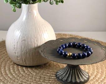 Round Faceted Lapis Lazuli Beaded Bracelet, Lapis Lazuli Bracelet, Lapis Lazuli, Faceted Lapis Lazuli, Navy Blue Bracelet, Beaded Bracelet