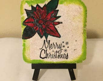 SAMPLE  SALE Merry Christmas Tile NO Easel Included