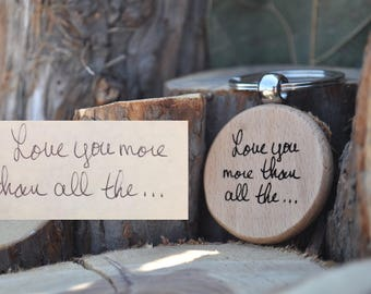 Handwriting, Keychain, Wooden, Personalized, Engraved, Name, Memorial, Gift for Boyfriend, Dad, Girlfriend, Mom, Sister, Brother, Custom