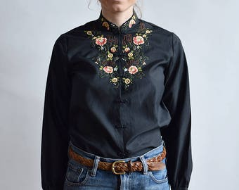Chinese style embroidered blouse, Hand stitched blouse, Flower blouse