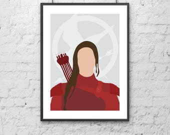 Katniss Everdeen - The Hunger Games Print | illustration | design | poster | modern | minimal | digital | art | icon | hero | portrait