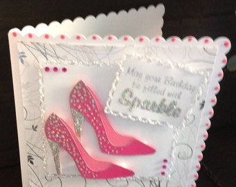sparkling, pink, girly stiletto shoes