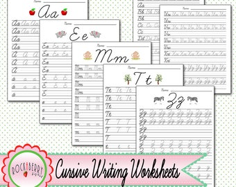 Cursive Writing Worksheets Alphabet A - Z Tracing Guide Educational Learn Letters Practice Handwriting Printable Activity Sheet