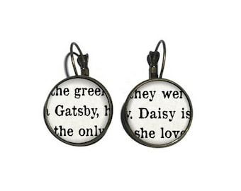 Gatsby and Daisy Earrings, The Great Gatsby Earrings, Book Page Earrings, Literature Earrings, Book Lover Earrings, F Scott Fitzgerald