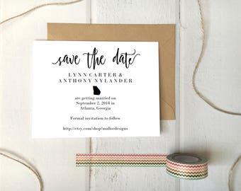 Georgia Wedding Save The Date Printable Postcard Template / Instant Download / Destination Wedding State Icon Print At Home Card