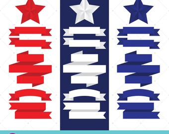 Stars And Stripes, Clip Art, Independence Day, Fourth Of July, American Flag, Patriotic Art, July 4th Scrapbook, Ribbon Banners, 3D Stars