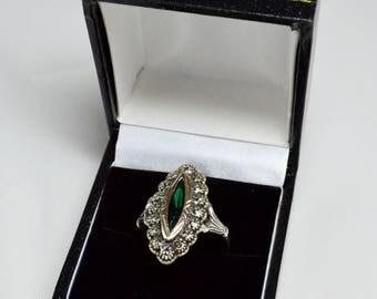 Art Deco Gold Silver Ring Fabulous Green Paste Marcasite Original Design 1920s