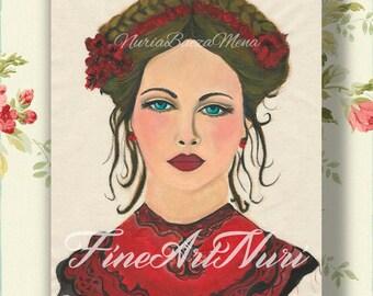 Pretty woman print, portrait art print, renaissance art, portrait of lady,  painting print, medieval portrait, medieval art, beautiful lady,