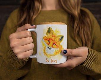 So Foxy Animal Print Coffee Mug Cute Fox Animal Print Mug Animal Lovers Fox Drawing Gift Mug Witty Novelty