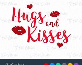 Hugs and Kisses SVG, Hugs and Kisses, Valentine SVG, Svg Files for Silhouette Cameo or Cricut Commercial & Personal Use.