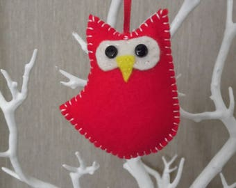 Red hanging baby owl