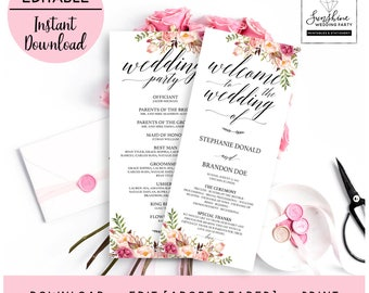 Welcome to Wedding, Wedding Party, Floral Wedding Program Template, Script Font, Long, Editable Printable Wedding Program, digital download