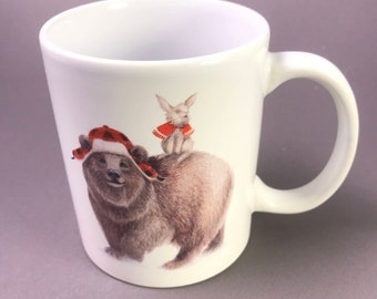 Coffee Mug, Woodland creatures dressed for winter, holds 8 oz. SO CUTE!