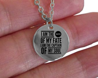 I Am The Master Of My Fate I Am The Captain Of My Soul Laser Engraved Round Pendant Necklace, Inspirational Quote, Graduation Gift [PQ01]