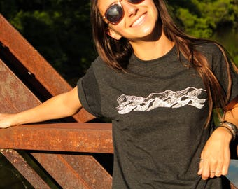 100% Recycled Hand Printed Mountain Unisex T-shirt