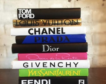 DESIGNER BOOK SET, 10 Books, Chanel, Tom Ford, Louis Vuitton, Fendi Books, Coco Chanel Book, Luxury Designer Decor, Home Decor, Housewarming