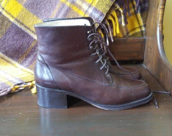 90s Chestnut Brown Leather Boots - 8 - Made in Spain