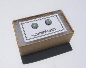 Minimalist Resin Earrings - Pale Aqua - Stainless Steel - 8mm