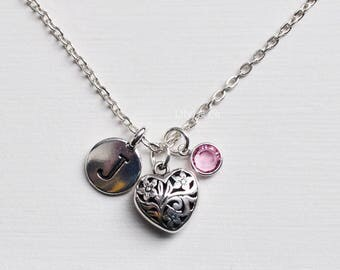 Heart Charm Necklace, Sterling Silver Heart Necklace, Heart Charm, Heart Charm Necklace, Sterling Silver Heart Charm, Heart Necklace