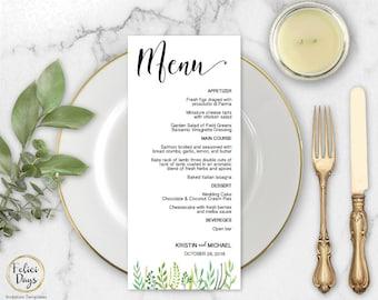 Greenery Wedding Menu Template, DIY Wedding Menu Template, Printable Wedding Menus, Editable Menu Template, PDF Instant Download GW440