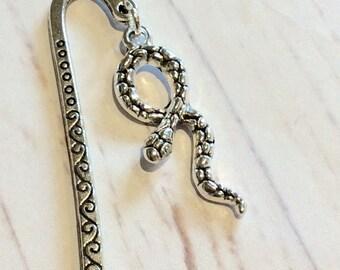 Silver swirl Snake bookmark, snake charm bookmark, Python bookmark, bookmark gift, Snake bookmark, gift, funky gift, silver snake bookmark,