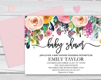 Floral Baby Shower Invitation, It's a Girl Shower Invite, Bridal Shower Card, Floral Baby Shower, Boho Girl Baby Invite, Instant Download 11